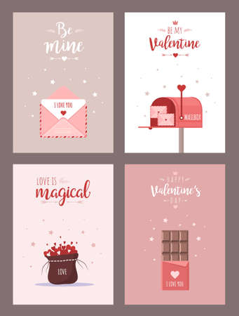 Valentines card. Retro collection with hearts, envelope and sweets. Typography poster. Cartoon greeting design. Vector illustration in flat style Illusztráció