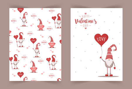 Retro Valentines cards with gnomes. Scandinavian cute elves in red hat with air balloon. Vector illustration in flat style. Nordic design for poster, flyer, gift tags and postcards Illusztráció
