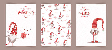 Valentines day scandinavian cards. Cute little gnomes in red hats. Be mine. Vector illustration in cartoon style. Noel vintage postcards on white background Illusztráció