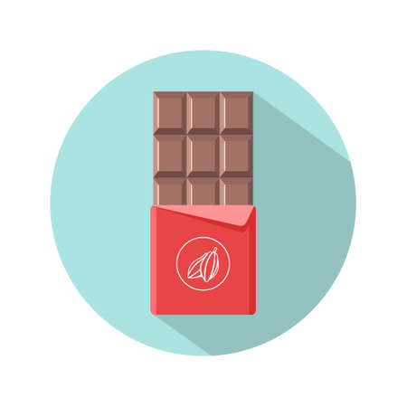 Chocolate bar icon. Open tasty milk chocolate in foil packaging. Flat dessert and sweet. Vector illustration in cartoon style.