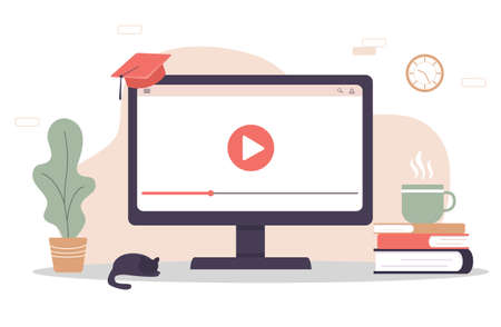 Online education. Flat design concept of training and video tutorials. Vector illustration for website banner, marketing material, presentation template, online advertising.