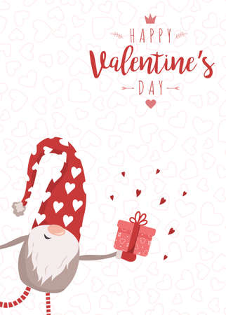 Happy Valentine day card with cute nordic gnome in red hat with gift. Season greetings. Vector illustration in cartoon style. Scandinavian vintage postcard