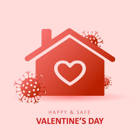 Happy and safe Valentines day 2021. Coronavirus and Holidays. Social media sticker of self-isolation. Distancing measures to prevent virus spread. Vector icon covid19 for apps, banners or postcards.