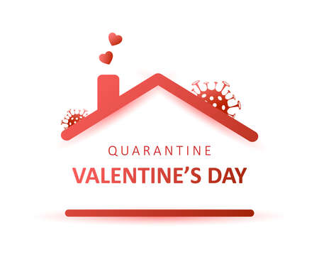 Quarantine Valentines day 2021. Coronavirus and holidays. Social media sticker of self-isolation. Distancing measures to prevent virus spread. Vector icon covid19 for apps, banners or postcards. Illusztráció