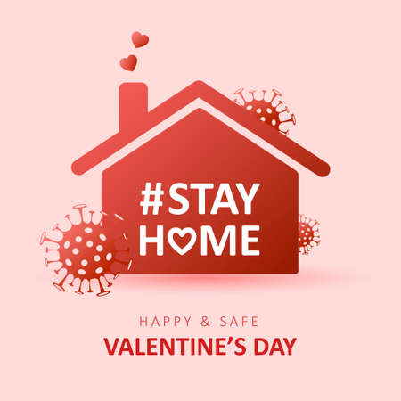 Valentines day 2021. Coronavirus epidemic. Stay at home. Social media sticker of self-isolation. Distancing measures to prevent virus spread. Vector icon covid19 for apps, banners or postcards.
