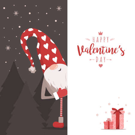 Valentines gnome with big signboard. Holiday greeting card. Cute little elf in red with hearts. Vector illustration in flat style.