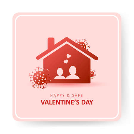 Valentines day 2021. Covid and Holidays. Couple stay at home. Social media sticker of self-isolation. Distancing measures to prevent virus spread. Vector icon covid19 for apps, banners or postcards.