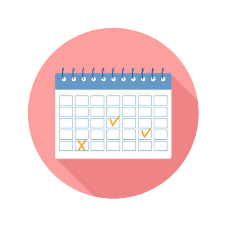 Calendar Icon. Business planning, organization and achievements of goals. Vector illustration in flat cartoon style