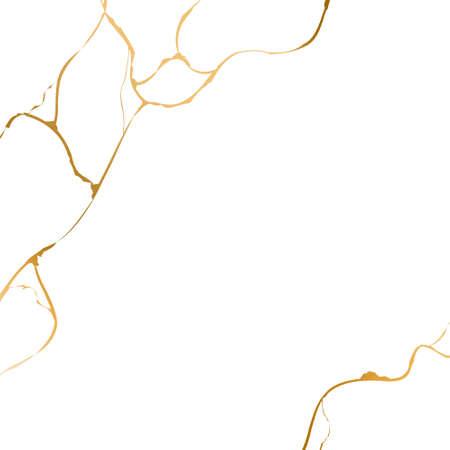 Gold kintsugi on white background. Crack and broken effects. Marble texture. Luxury design for wall art, wallpaper, wedding card, social media. Modern vector illustration