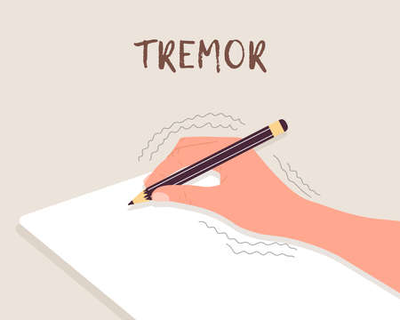 Tremor hands. Primary symptom Parkinson disease. Arms writing with a pen. Physiological stress symptoms. Vector illustration in flat cartoon style