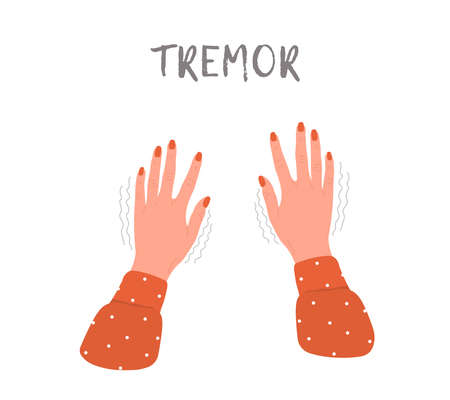 Tremor hands. Parkinson disease. Female arms with nails. Physiological stress symptoms. Vector illustration in flat cartoon style