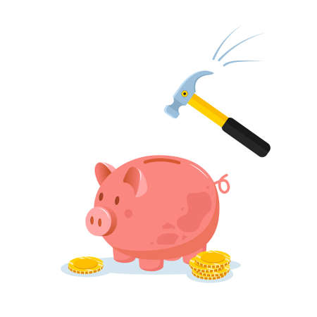 Piggy bank with hammer raised above it to smash. Spending money concept. Financial symbol. Banking or business services. Vector illustration in flat cartoon style