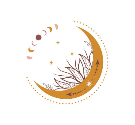 Abstract aesthetic boho moon. Scandinavian design for wallpaper and home decor. Contemporary geometric element. Modern vector illustration in flat style Vetores