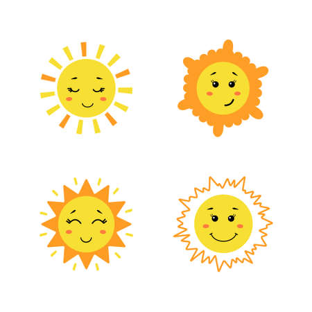 Set of cute hand drawn sun. Yellow funny suns with different emotions isolated on white background. Vector childish illustration in flat cartoon style Vecteurs