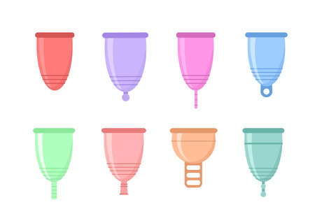 Set of different silicone menstrual cups. Eco-friendly, washable intimate product. Zero waste supplies for personal hygiene. Plastic-free concept. Flat vector illustration of woman hygiene