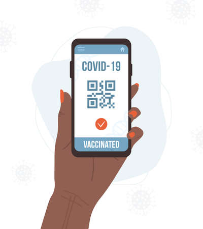 QR code with vaccine passport. Check of safety from covid-19. African female hand holding smartphone with electronic result on digital screen. Vector illustration in flat cartoon style