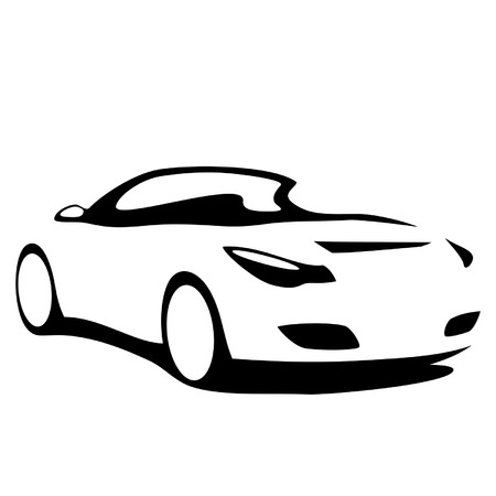 convertible car: Car convertible silhouette