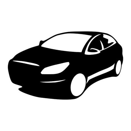 white car: Silhouette modern car
