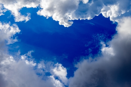 Heart-shaped opening in a cloudy blue sky photo
