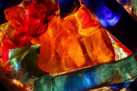 glasswork: Closeup of back lit stained abstract glass pattern