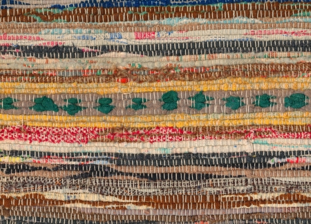 wornout: Closeup of old worn-out striped rag rug Stock Photo
