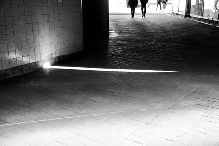 lightbeam: Street photograph in black and white at Slussen in  Stockholm, Sweden