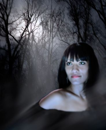Fantastic history about a young and beautiful witch. Green eyes of the woman radiate force of character. A background - a night wood in a mysterious fog. Through trees the moonlight makes the way. Stock Photo