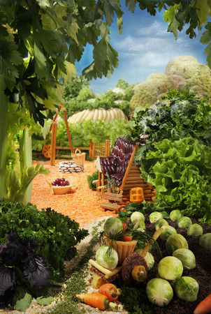 Landscape with house made from breadsticks, macaroni, snacks and others different foods. Handiwork. The image is made from multiple files. Stock Photo