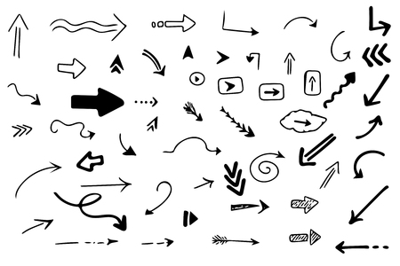 Pack of 56 hand drawn arrows. Vector set. 向量圖像