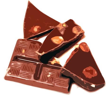 Heap of broken chocolate hazelnut pieces on white background Illustration