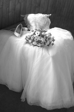 White wedding dress and rings