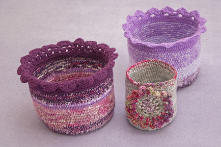Crocheted baskets Stock Photo