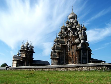 Churches of Intercession and Transfiguration - a beautiful ensemble on Kizhi, in the  of north Karelia Stock Photo