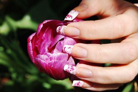 Manucure sur ongles long r�el Banque d'images