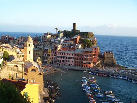 A picturesque panorama in Vernazza Stock Photo