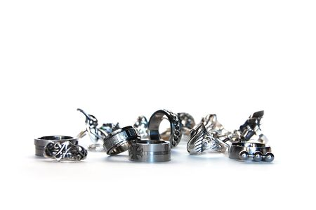 placer: Silver, steel and cupronickel rings arranged artistically