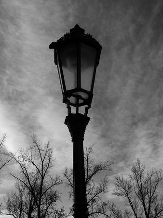 lonliness: Old street lamp in Prague Stock Photo