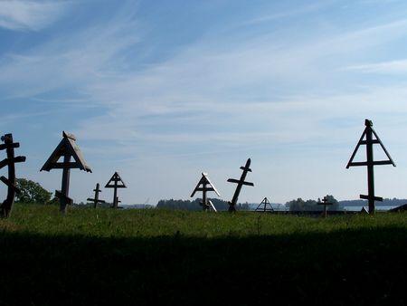 onega: Old Graveyard in Kizhi, Karelia Stock Photo