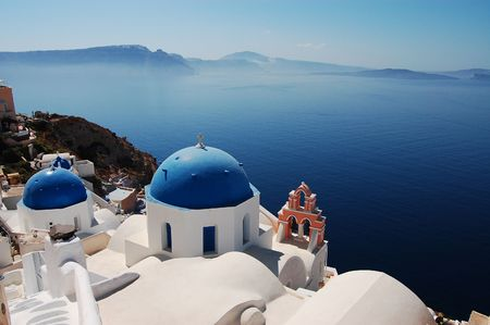ia: Churches of Santorini   Stock Photo