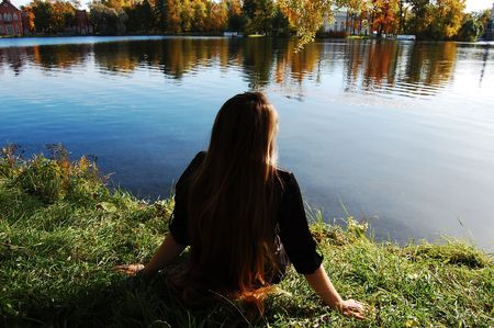 brink: Young girl admiring the landscape
