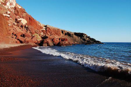 Red Beach � Akrotiri (Santorini �le, Gr�ce) Banque d'images