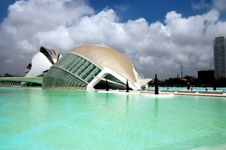 palau:   VALENCIA, SPAIN - JULY 15: Bright picturesque view of LHemisferic and Palau de Les Arts in the City of Arts and Sciences (one of the most outstanding examples of modern archtecture built by famous Spanish architect Santiago Calatrava) on July 15, 2009