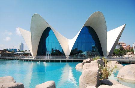 VALENCE, Espagne - 15 juillet: Bright vue pittoresque de L'Oceanogr�fic (le plus grand aquarium oc�anographique en Europe) dans la Cit� des Arts et des Sciences le 15 Juillet 2009, � Valence, Espagne