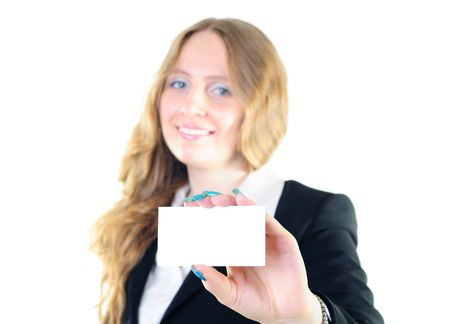 Pretty young businesswoman holding a business card for text Stock Photo - 8293195