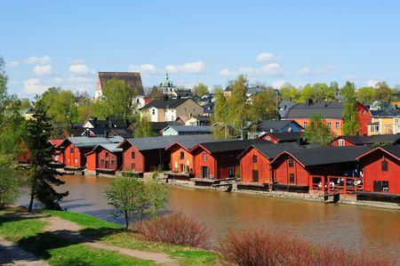 B�timents de stockage Rouge - touristiques c�l�bres dans la vieille ville de Porvoo, en Finlande