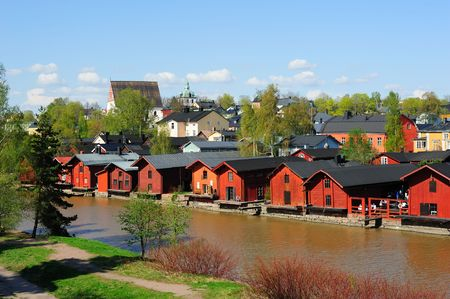 Red storage buildings - famous sightseeing in the Old town of Porvoo, Finland