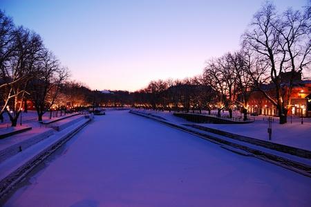 Wonderful evening on Aura river in Turku, Finland Standard-Bild