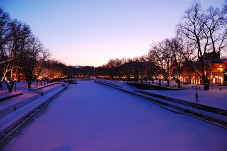Wonderful evening on Aura river in Turku, Finland Stock Photo