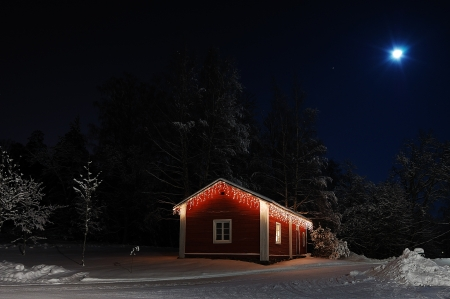 evening glow: Turku, Finland - January 02, 2010: Beautiful Christmas house in moonlight