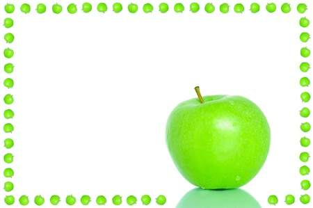fruit and veg: Bright green apple frame with a place for text Stock Photo
